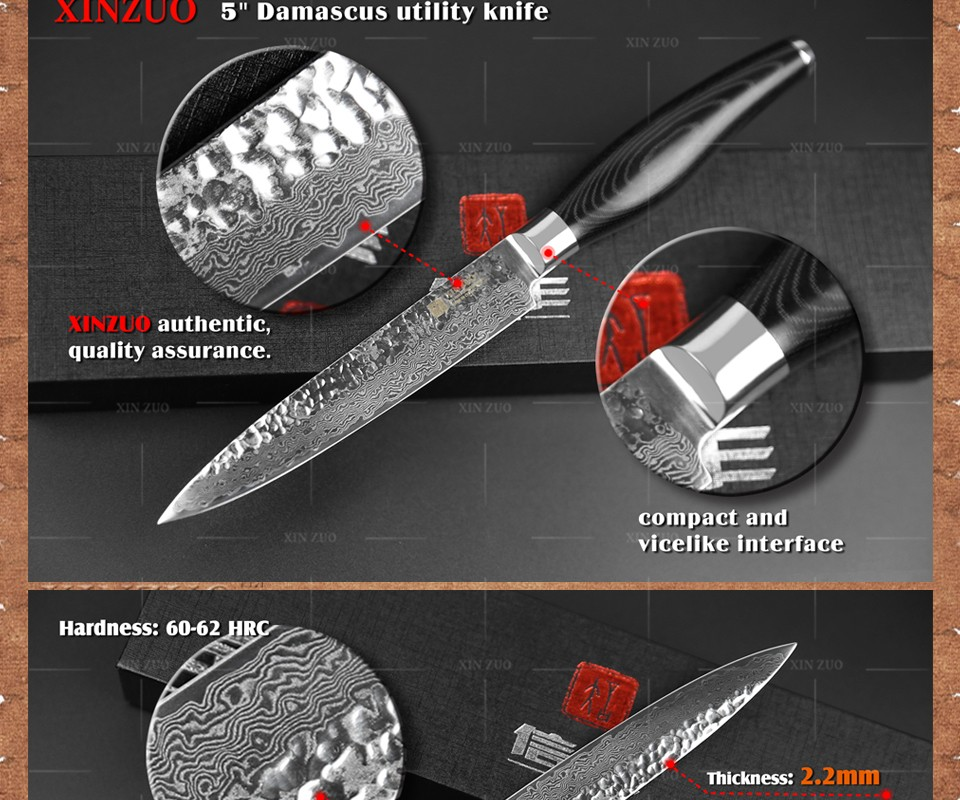 "Buy XINZUO 5"" inch utility knife very sharp Japanese 73 layers Damascus steel kitchen knife K133 Color wood handle free shipping cheap"