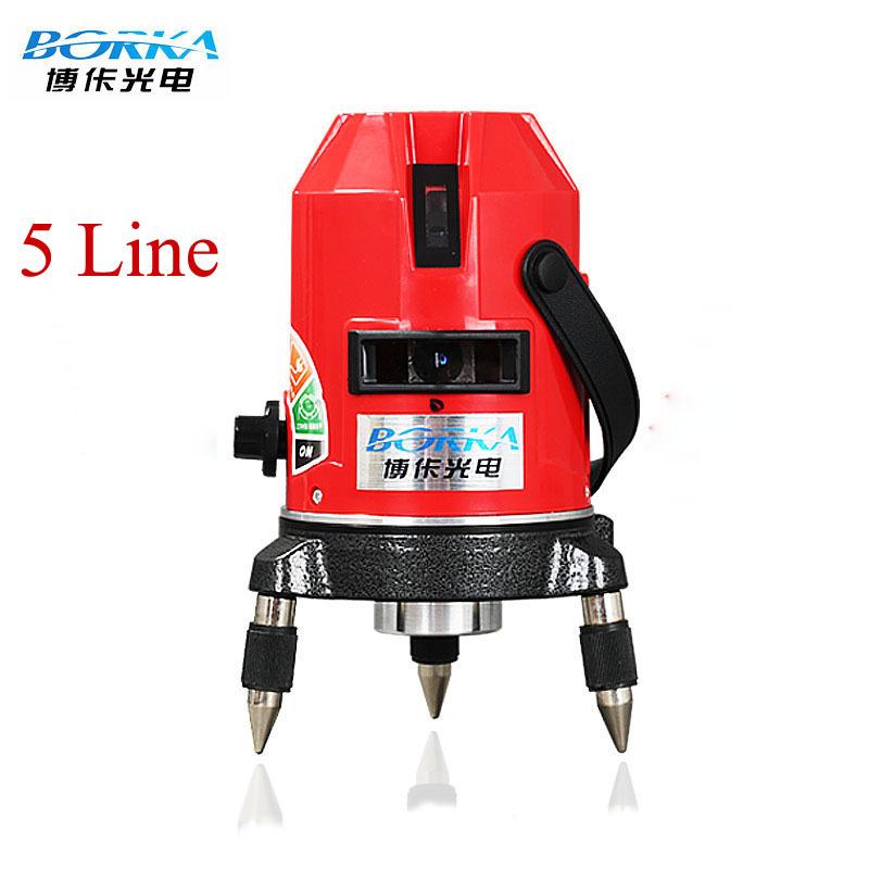 Free shipping whole set Borka 5 lines 4V1H 5 points laser line cross line laser rotary laser level self-leveling level laser(China (Mainland))