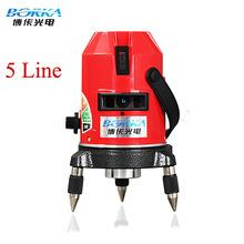 Envío gratis el sistema entero Borka 5 líneas 4V1H 5 puntos línea láser de línea de la cruz nivel láser rotativo autonivelante nivel láser