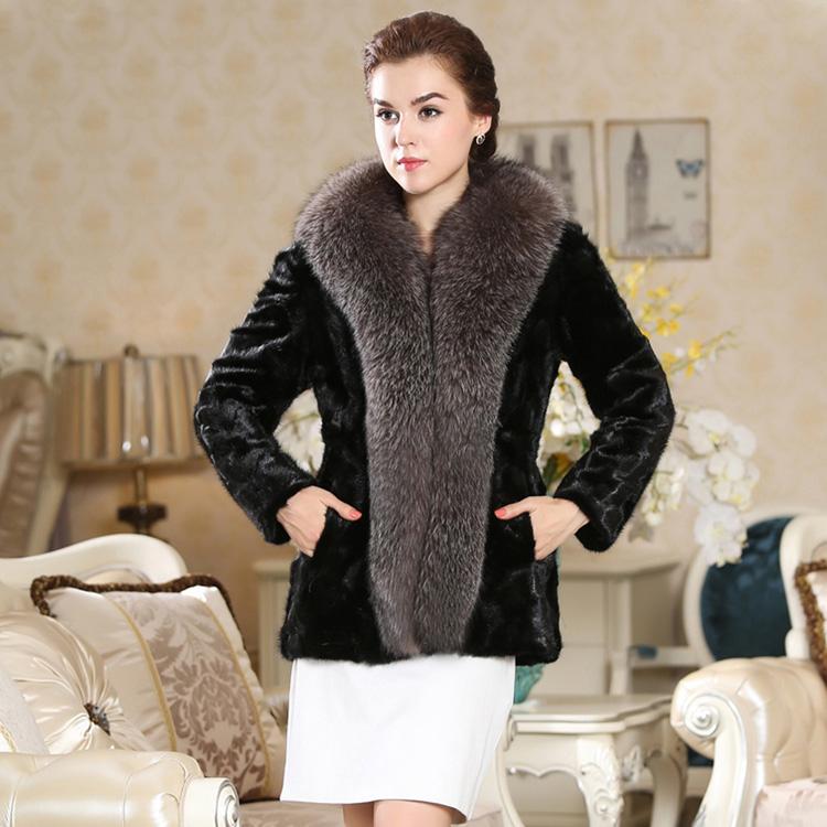 2016 Plus size Faux mink fur women's long design slim fur coat plus cotton(China (Mainland))