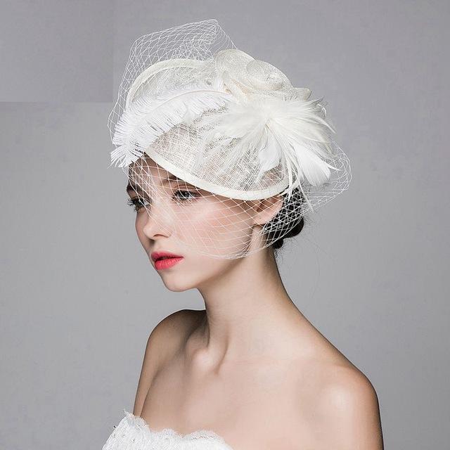 Свадебные Шляпы Свадебные Шляпы vintage Белый Дамы Свадебные Шляпы Fascinators Перо ...