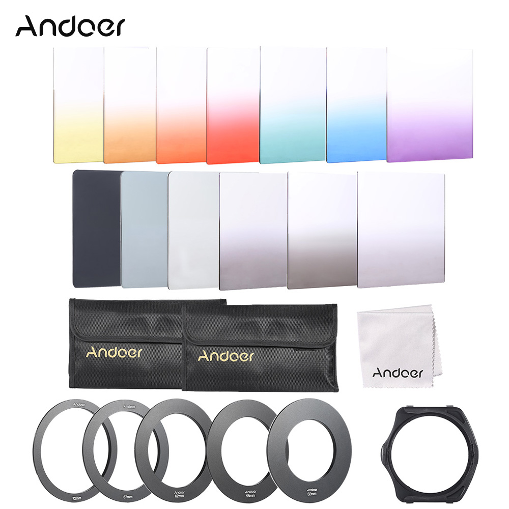 Andoer 13pcs Square Gradient Full Color Filter Kit for Cokin P Series with Filter Holder Adapter Ring Storage Bag Cleaning Cloth(China (Mainland))