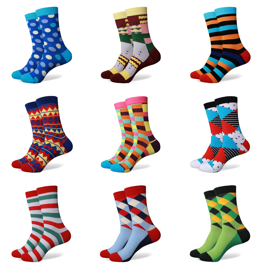 Wholesale 2015 new styles No logo men's Combed Cotton Colorful socks US size(7.5-12)(China (Mainland))