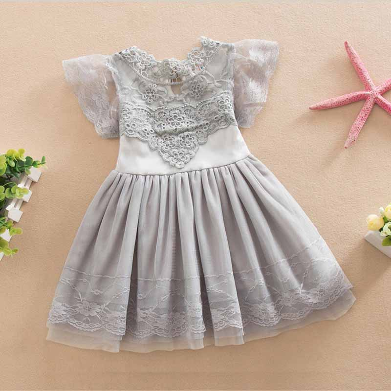 2-6y toddler girls Clothings hot sale kids lace Dress Vintage Ruffles Sleeve Clothes Princess Girl Party/birthday Costumes(China (Mainland))