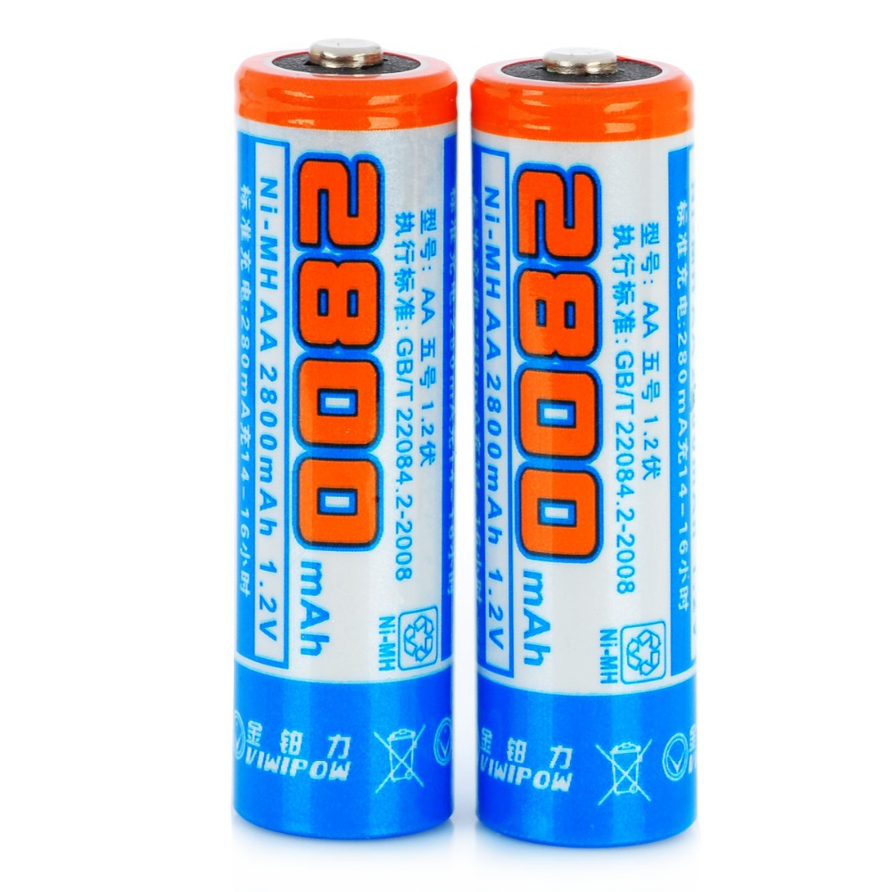 Viwipow 1.2V 2800mAh Rechargeable NiMH AA Batteries - Blue (2 PCS)(China (Mainland))