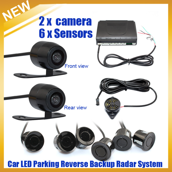 Фотография New Dual Channel Video Parking Reverse Radar System 6 Sensor with Front View Camera and Rear view Camera, Free shipping