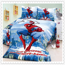 New Store Sale! 50% OFF Amazing Spiderman Bedding 4 Pieces Twin/Single Duvet/Quilt Cover Sheet Set for Boys Bedding(China (Mainland))