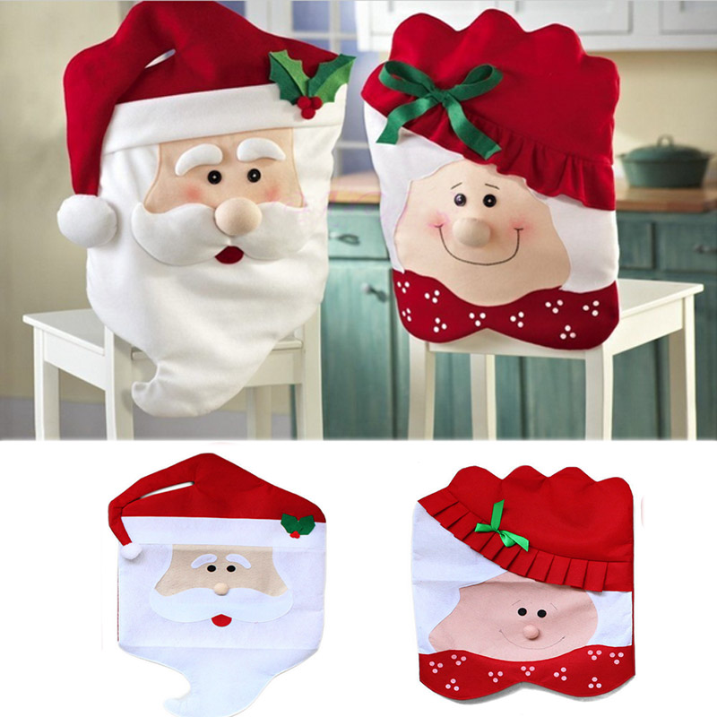 1pc High Quantily Christmas Chair Covers Mr Mrs Santa Claus Decorations For Dining Room Home
