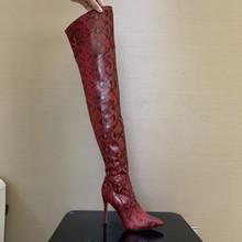 Dij Hoge Laarzen Sexy Over de Knie Laarzen voor Vrouwen Schoenen Snakeskin Puntschoen 11CM Dunne Hoge Hakken Lange laarzen Bottine Femme(China)