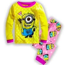 2016 Children Sets summer/spring Baby boys pajamas suits Girls Clothing Set sleepwear set cotton Popular cartoon shirts+trousers(China (Mainland))