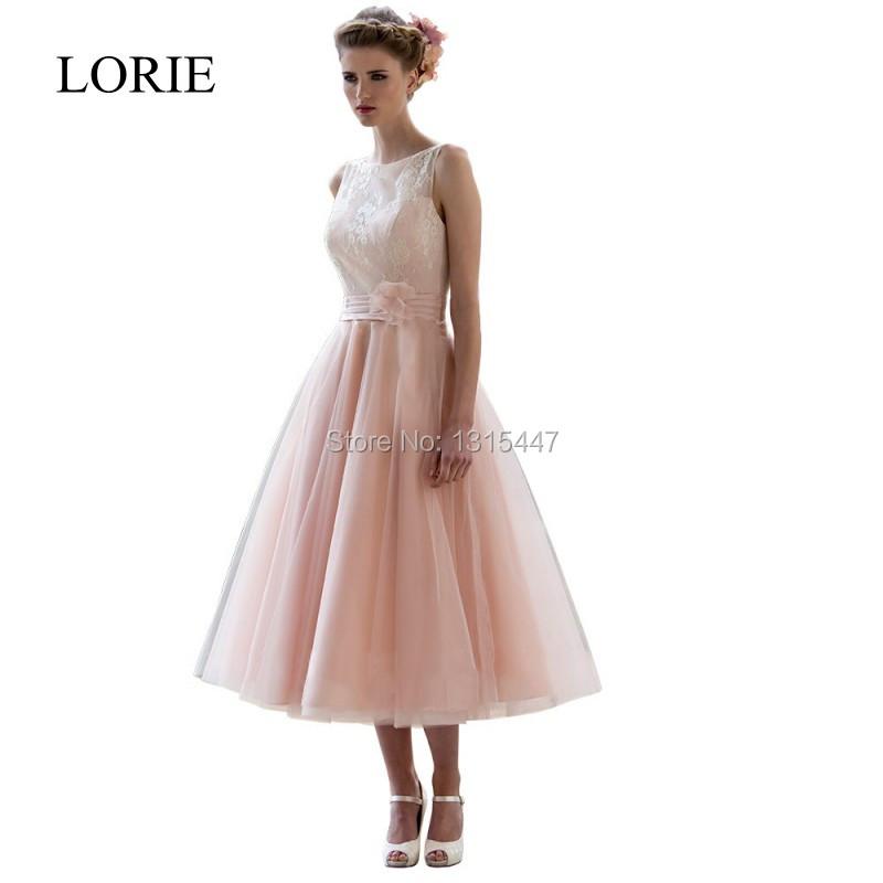 Pink Wedding Dresses Tea Length : Vintage lace tea length blush pink wedding dresses