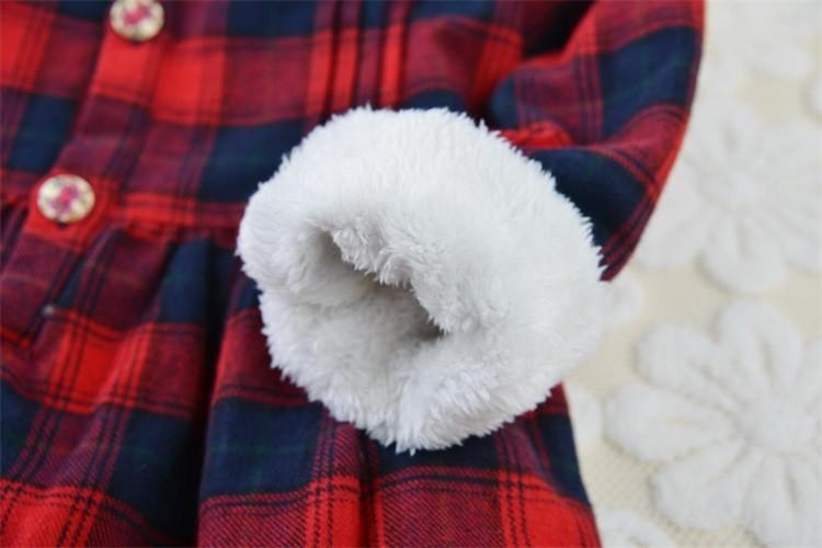 Winter New Arrival Girls Casual Englnd Style Plaid Shirt Dress Female Children Thickening Velvet Warm Blouse Dress