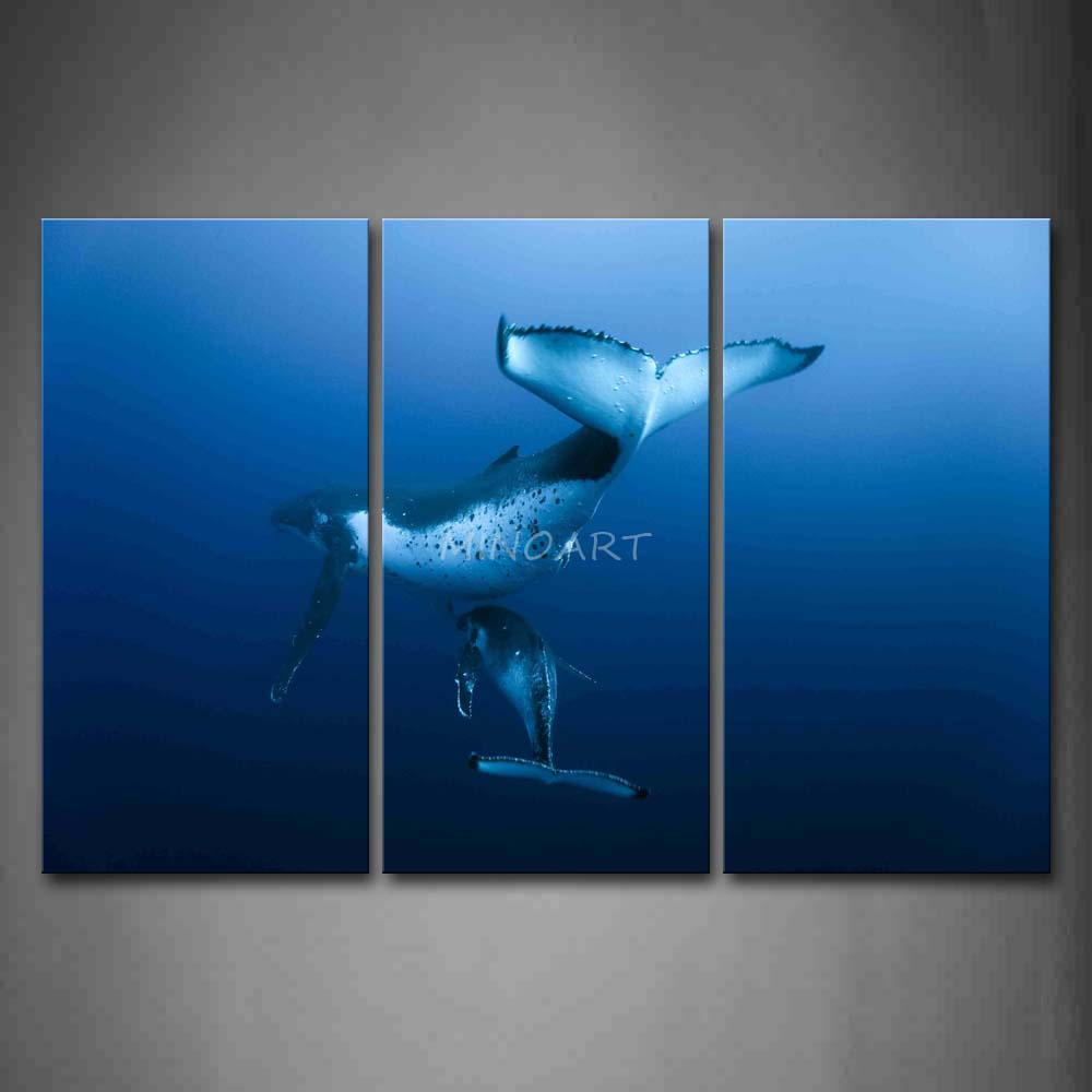 3 Piece Wall Art Painting Mother Whale And Cub In Blue Sea Print On Canvas The Picture Animal 4 Pictures(China (Mainland))