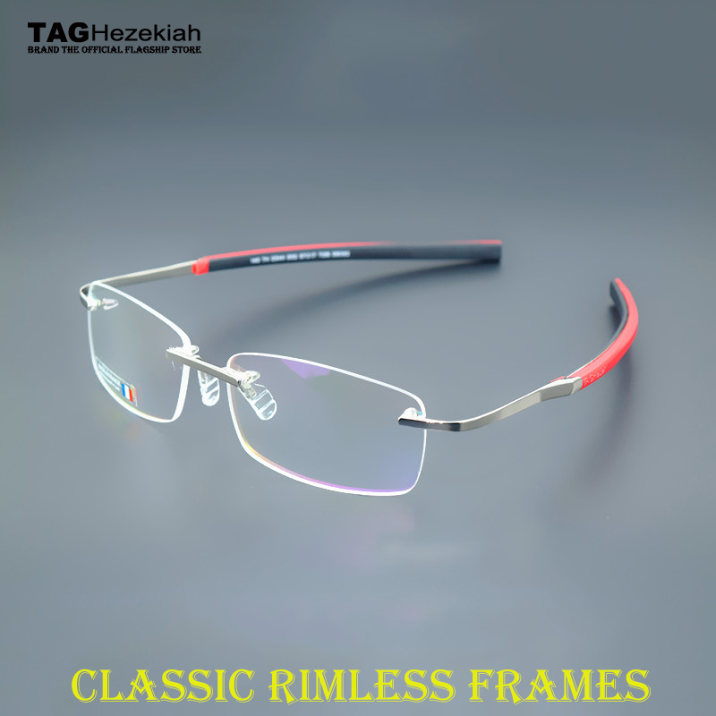 2016 TAGHezekiah sports brand titanium eyeglasses rimless glasses men myopia TH0344 paragraph frame slip rubber frame tag women(China (Mainland))