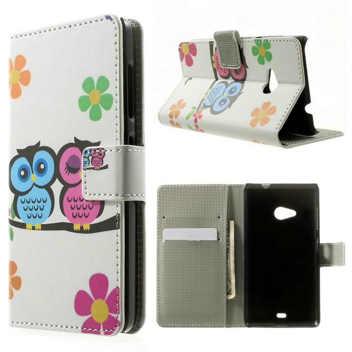 Multiple Owls Phone Case for Microsoft Lumia 535 / 535 Dual SIM Leather Wallet Shell Cortoon Design(China (Mainland))