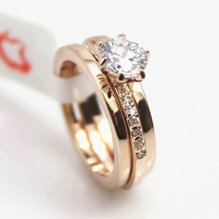 Fashion Crystal Ring 18K Rose Gold Plated Made Genuine Austrian Crystals Full Sizes Wedding Men Women ring - JC'S STORE store