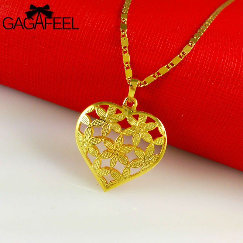 2015 New Fashion Women Wedding Jewelry 24K Gold Plated Heart Flower Pendants Necklaces Chain A061 - Gagafeel Factory Co., Ltd store
