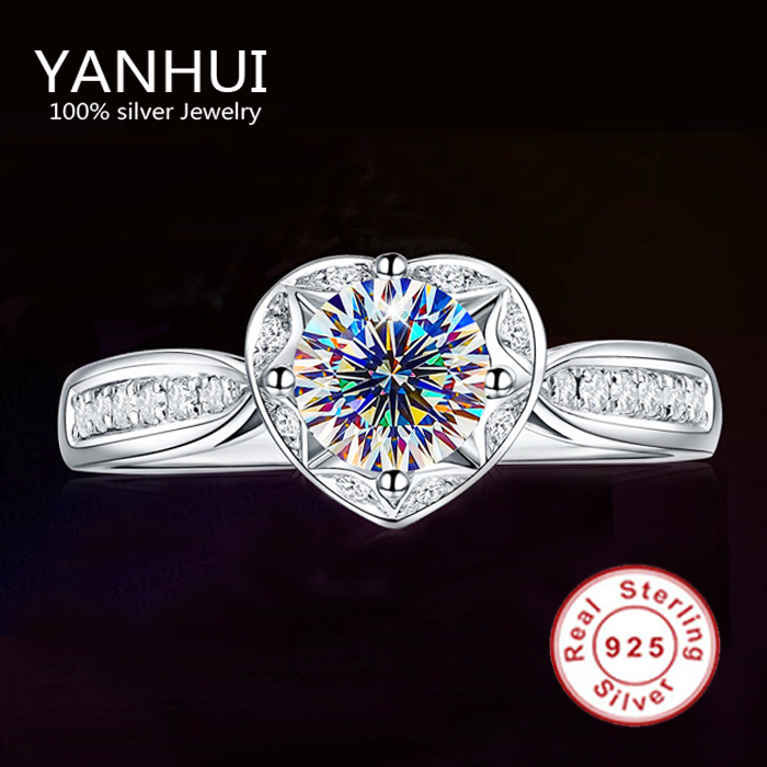 90% OFF!!! Fine Jewelry Real Solid 925 Sterling Silver Ring Romantic Heart Shape Inlay 1CT CZ Diamond Wedding Rings For Women(China (Mainland))