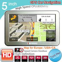 New 5 inch HD Car GPS Navigation CPU 800MHZ FM/8GB/DDR3 2016 Maps For Europe/USA+Canada TRUCK Navi Camper Caravan(China (Mainland))