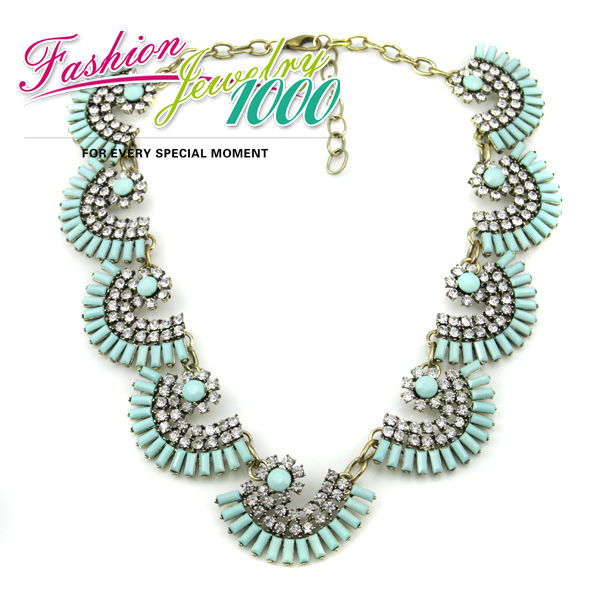 New Design Full Rhinestone Fan Shape Exaggerated Choker Statement Necklace Celebrity Gift Women Jewelry Free Shipping(China (Mainland))