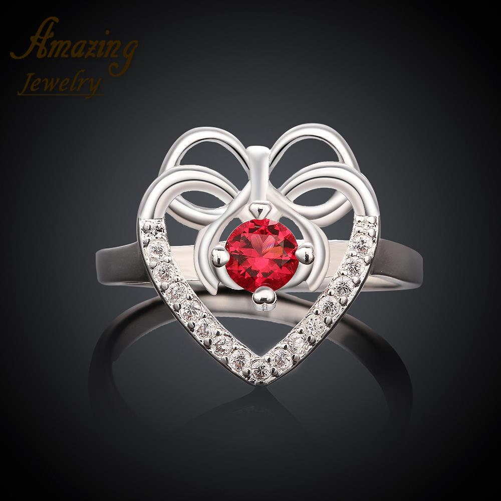 Free shipping brand Fashion Jewelry silver Plated engagement big crystal CZ diamond ruby wedding heart lord
