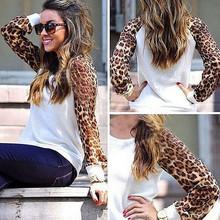 New fashion spring Summer women cotton stitching leopard chiffon long sleeve round collar big size Casual Tees Tops T Shirt  5XL(China (Mainland))