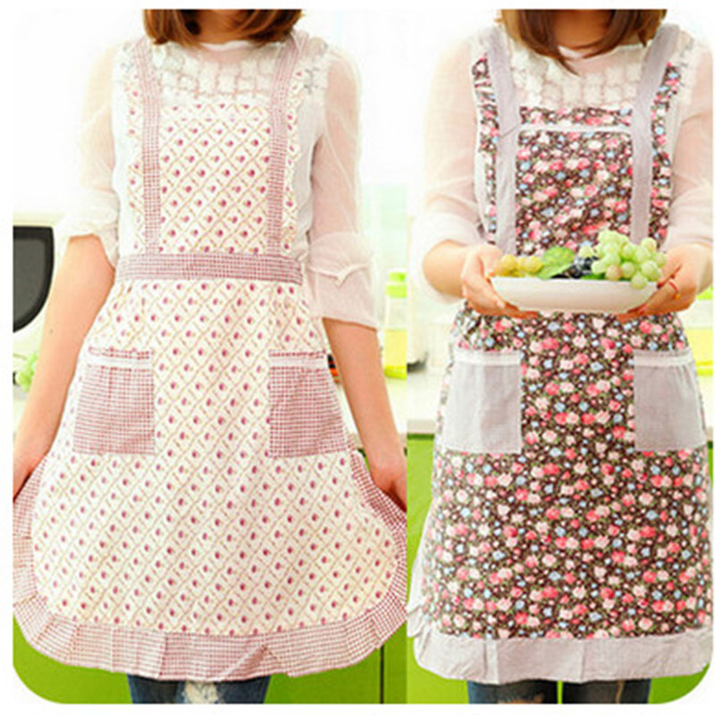 Women's Wholesale Cotton Knitted Japan Style Country Flowers Patterns AProns For Women(China (Mainland))