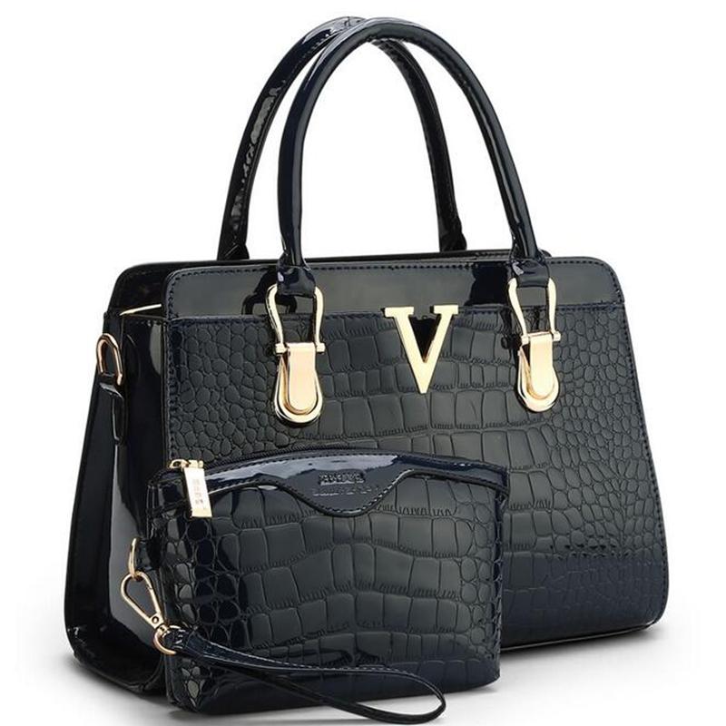 2016 new fashion patent PU leather handbags Socialite crocodile grain women messenger bags ladies shoulder bag for women L4-1944