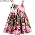 W L MONSOON Girls Dress Summer 2017 Brand Kids Pink Rose Bianco Cotton Dresses for Girls