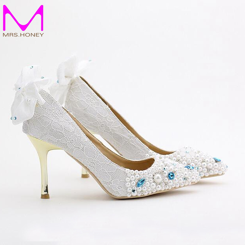 Pink Lace Flower Bride Shoes Pointed Toe Metal Thin Heel Wedding Shoes