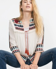 ZA Ref 7521/020 Summer 2015 womens new White Blue Embroidered Cotton Linen Fringed Cape jacket with tassles