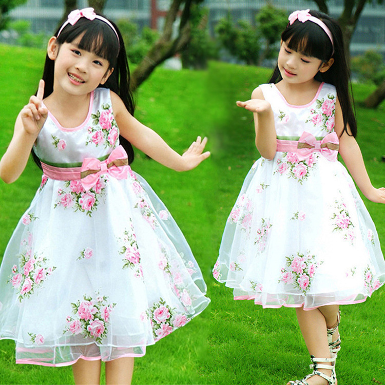 Free Shipping New 2016 Children Dresses Baby Girls Princess Flower Dress Kid Clothes Casual Sleeveless Cute Party Clothing<br><br>Aliexpress
