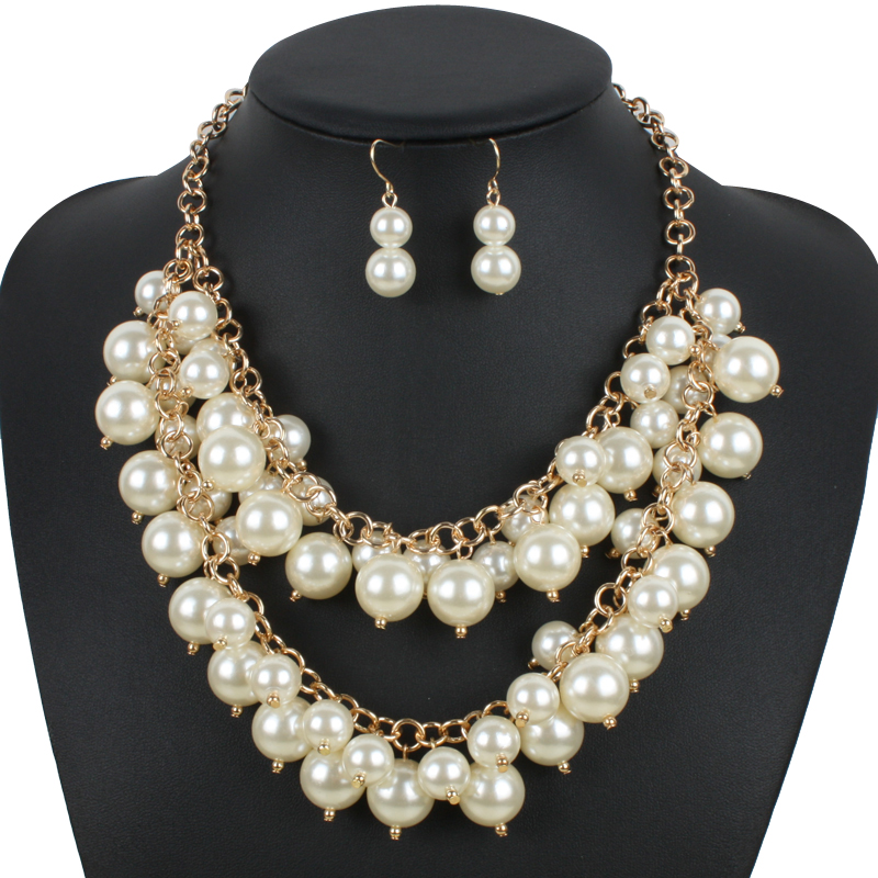 trendy pearl necklace fashion plastic pearl chokers