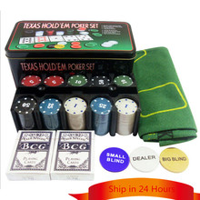 24*12*11 CM Texas Hold'em Poker Set Boxed 200 Poker Chip+2 Poker+ 1 Table cloth+3 Blind For Entertainment With Box and Rack(China (Mainland))