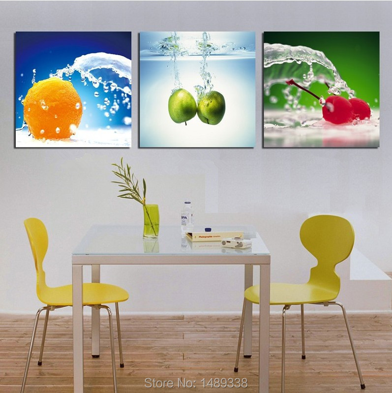 Framed 3Panels Picture Painting Modern Canvas Paint best still life oil paintings Art Wall Orange apple cherry - Dafen art store