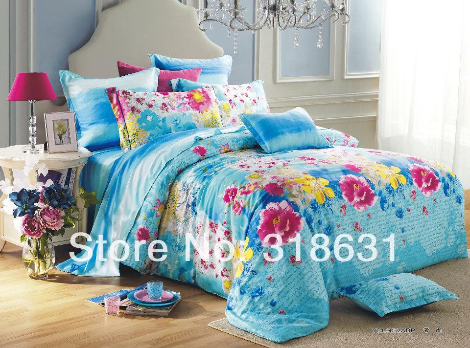 4 or5pc moderne Design de mode luxe Tencel Textile de maison fleurs imprimé couette feuille de couverture couette ensemble 60 S pleine reine - Turquoise(China (Mainland))