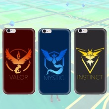 Pokemons go game Team Valor Mystic Instinct Silicone coque fundas print Crystal Soft cover for iPhone 6 6S Plus 4 4s 5 5s case(China (Mainland))