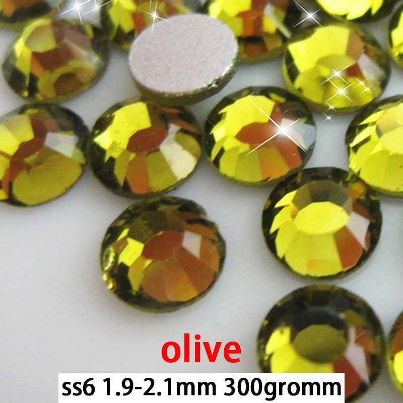 Free shipping olivine flat back rhinestones ss6 300gross 30packs<br>