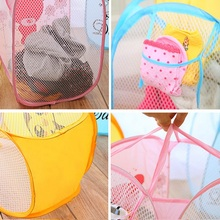 2016 Washing Clothes Pop Up Hamper Laundry Basket Mesh Toy Storage Bag Bin Household(China (Mainland))