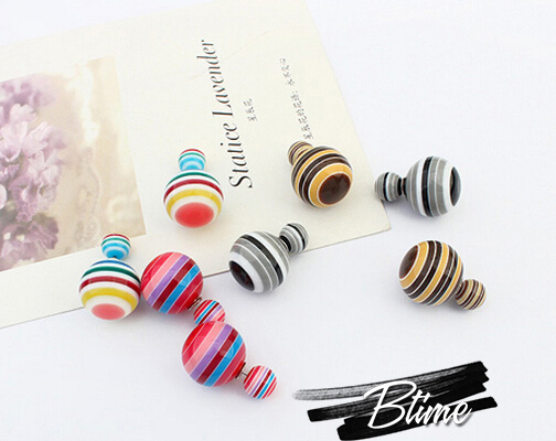 Europe Style Double Ball Stud Earrings Women spherical silve sterling round perforatioon Colorful Fashion Jewelry(China (Mainland))