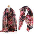 Sjaals Dames Zomer 2016 Ladies Printed Flower 100 Viscose Cotton Voile Long Muffler Shawls Cachecol Foulard