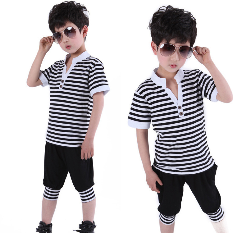 Meninas Limited Striped Clothing Set In 2015 The New Kids Wear Stripe Sleeve For Children Sports Cotton Suitable For SummerBK412(China (Mainland))