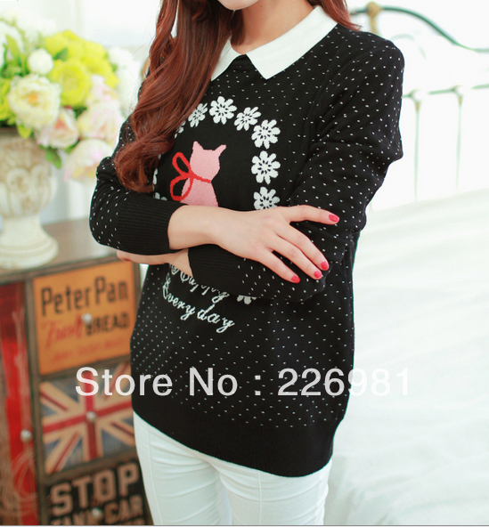 Freeshipping,retail,spring women's clothing,The new lapel, backing the kitten and jacquard knit sweaters(China (Mainland))