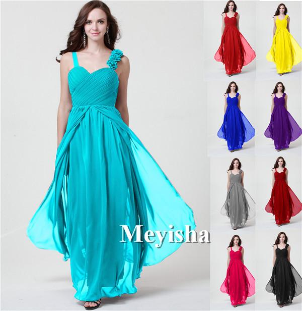 0010 purple hot pink marine blue two shoulder chiffon flower evening dress long maxi plus size fashional design(China (Mainland))