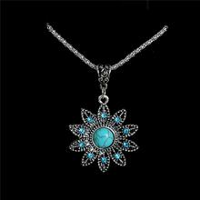 Бирюзовый Ожерелья подвески 2016 Vintage Хрустальный Цветок ожерелье заявление ожерелье для женщин(China (Mainland))