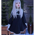 2016 Cute Girls Dark Lolita Dress Women Long Sleeve Nun Cross Embroidery Cosplay Dress Female Monasticism