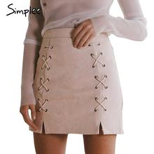 Simplee Autumn lace up leather suede pencil skirt Winter 2016 cross high waist skirt Zipper split bodycon short skirts womens(China (Mainland))