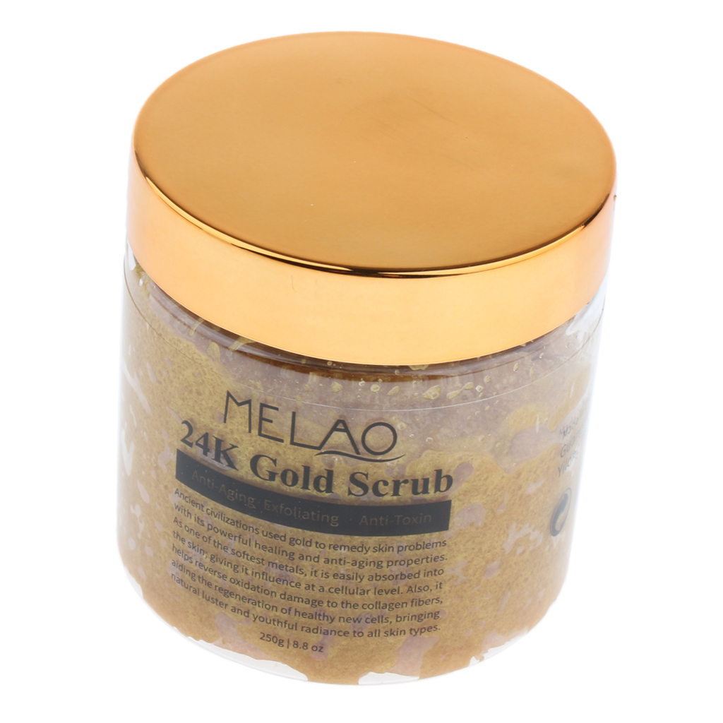 Pure Body Facial 24K Gold Scrub Salt Deep Pore Cleaning Exfoliating Blackheads Acne Scars Reduces Wrinkles