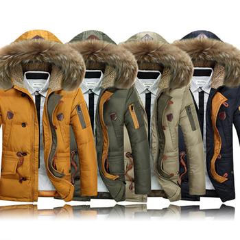 Зимняя куртка мужчины толщиной стенд парка мужская сплошной Comforatble причинно длинные теплое пальто мужской мода куртка мужчины