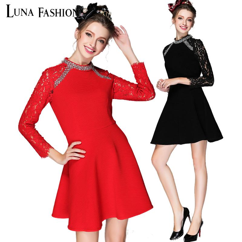 5XL plus size women 4XL 3XL 2XL 2015 autumn beading long sleeve lace dress dresses red black tunique femme